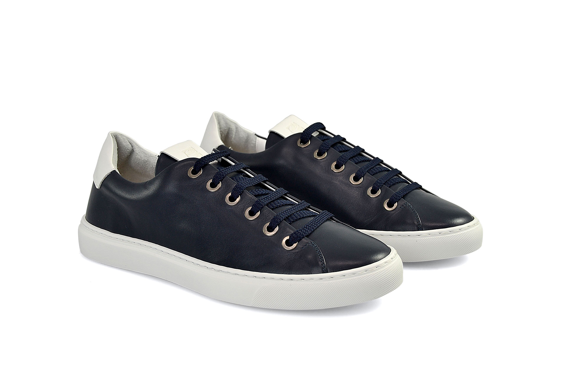 SHOES FIORANGELO MAN SS2021 ART. 75801 SNEAKERS VITELLO BLUE VITELLO BIANCO WHITE