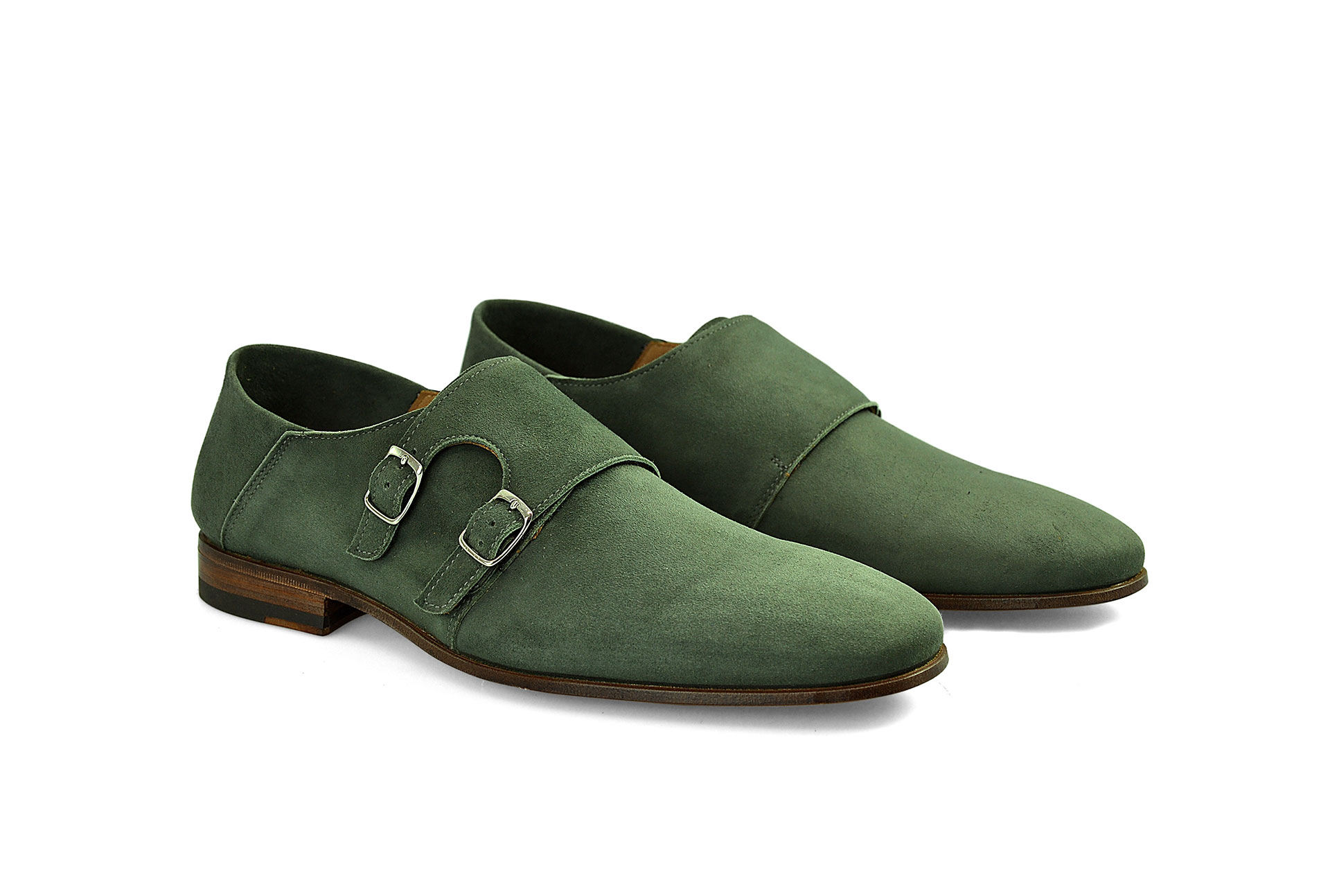 SHOES FIORANGELO MAN SS2021 ART. 113615 DOUBLE MONK CAMOSCIO VERDE GREEN