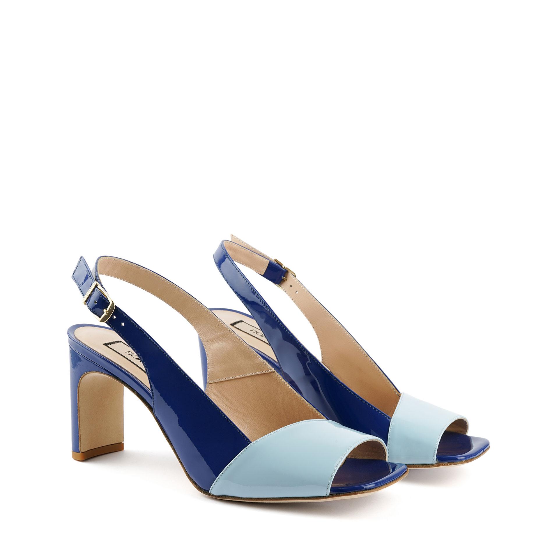 SHOES FIORANGELO WOMAN SS2021 ART. 75080 SANDAL PATENT JEANS LIGHT BLUE